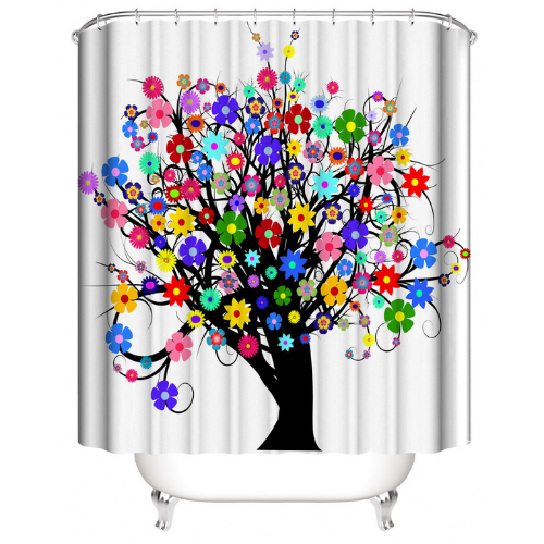 Tree with floral design, shower curtain with 12 hooks. - BusDeals Today