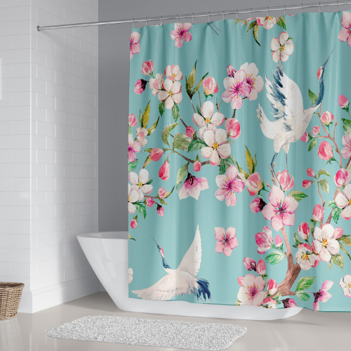 Flamingo with floral design, shower curtain with 12 hooks. - BusDeals Today
