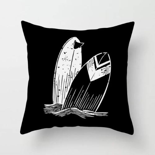 1 Piece Black & White Boat Design, Decorative Cushion Cover. - BusDeals Today
