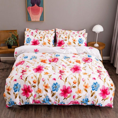 King Size 6 pieces Magenta Flowers Design, Fuchsia Color, Bedding set. - BusDeals Today