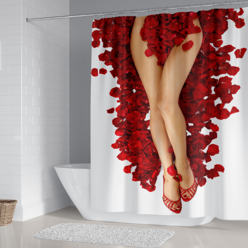 Lady in Red Petals design, shower curtain with 12 hooks. - BusDeals Today