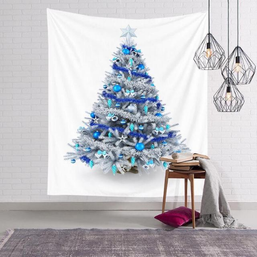 Wall Tapestry Home Decor,  White & Blue Christmas Tree Design. - BusDeals Today