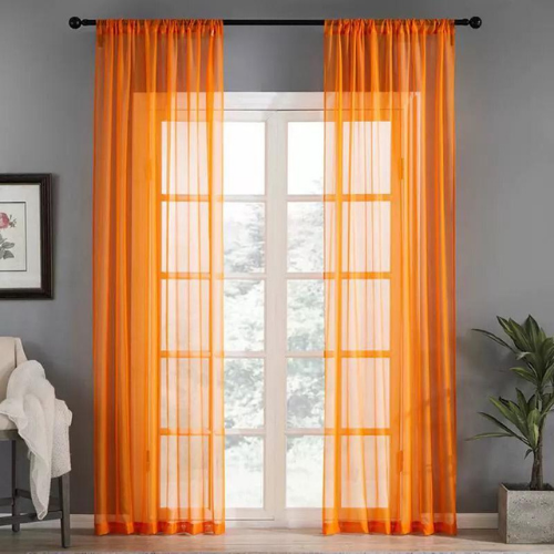 Window sheer, orange color set of 2 pieces. - BusDeals Today