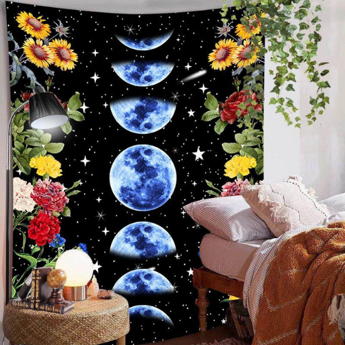 Wall Tapestry Home Decor, Blue Moon & Floral Design. - BusDeals Today