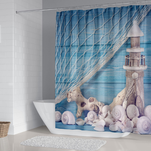 Lighthouse Design, Shower Curtain with 12 hooks. - BusDeals Today