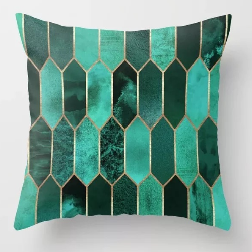 1 Piece Green Geometric Design, Decorative Cushion Cover. - BusDeals Today