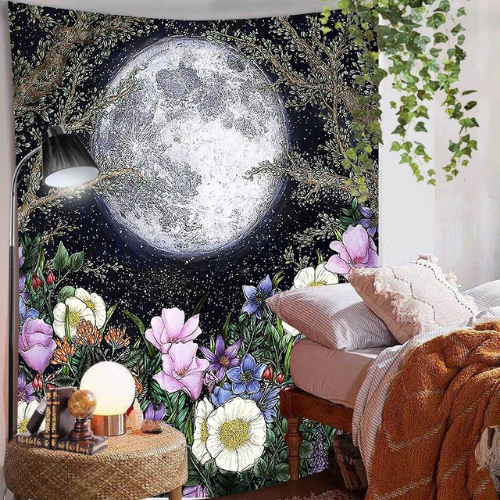Wall Tapestry Home Decor, Moon & Floral Design. - BusDeals Today