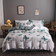 King size bedding set of 6 pieces, Green butterfly design.
