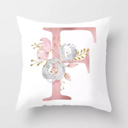 1 Piece Floral Letter F Design, Decorative Cushion Cover. - BusDeals Today