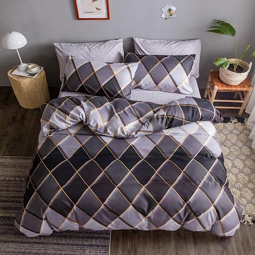 King size bedding set of 6 pieces, Rhombs design. - BusDeals Today