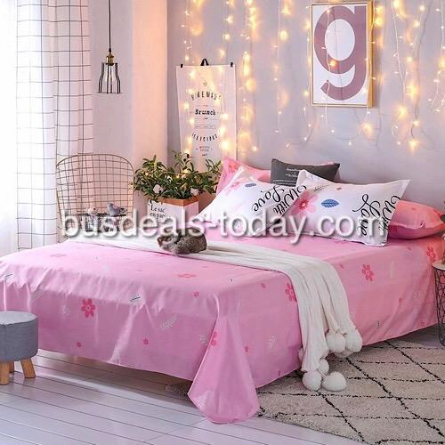 Queen/Double size Pink Floral with love design, bedding set of 6 pieces. - BusDeals Today