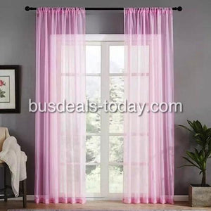 Window sheer, pink color set of 2 pieces - BusDeals