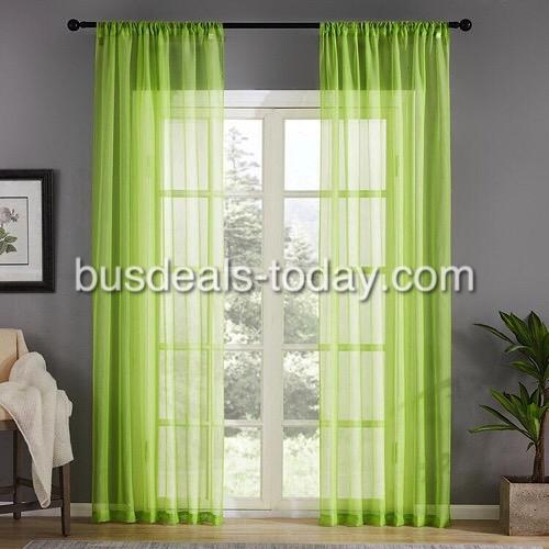 Window sheer, green color set of 2 pieces. - BusDeals Today