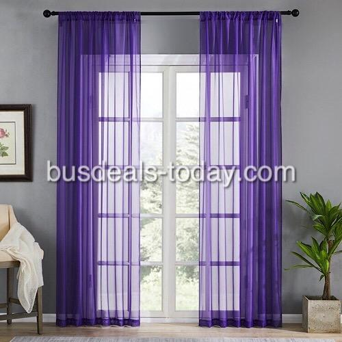 Window sheer, purple color set of 2 pieces. - BusDeals Today
