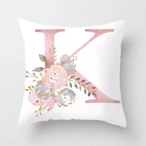 1 Piece Floral Letter K Design, Decorative Cushion Cover. - BusDeals Today