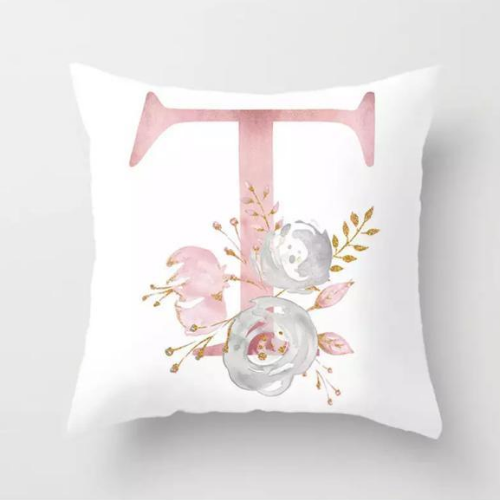 1 Piece Floral Letter T Design, Decorative Cushion Cover. - BusDeals Today