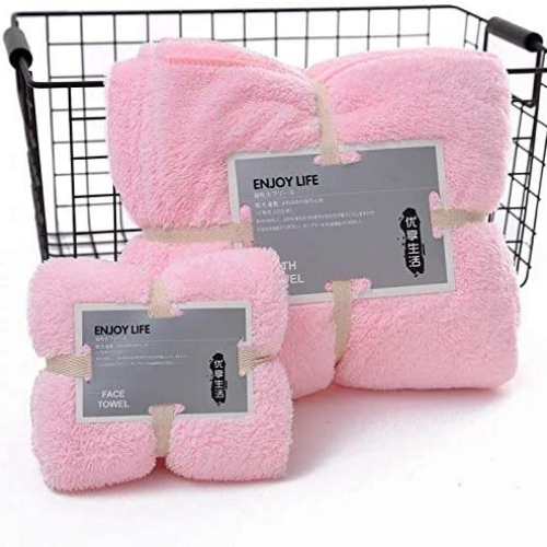 Quick drying supper absorption bath towel set of 2 pieces, Light Pink color. - BusDeals Today