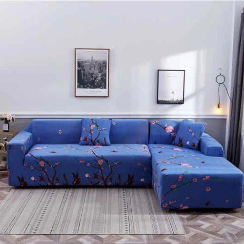 L shape 2 pieces, Sofa Cover Floral Pink Design. - BusDeals Today