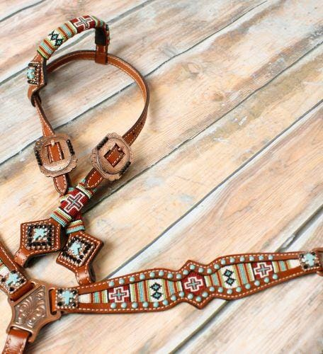 NEW! 🐎 💖 Showman ® Pony Size beaded navajo cross print headstall and breast collar set.  🚚 Posted.*