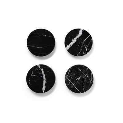 Black Marble Round Coasters 4 Pack-  Spanish Marquina Australian Made Home Decor, Other Home Décor- eStone Direct