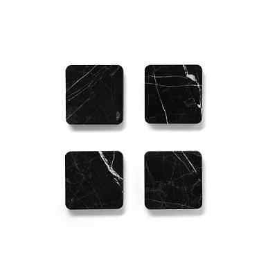 Black Marquina Marble Square Coaster Set of 4 - Australian made Decor, Other Home Décor- eStone Direct