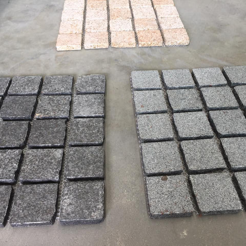 Black Flamed Granite Cobblestone 90x90x20mm - Cobbles, tiles, paving, driveways, Paving- eStone Direct