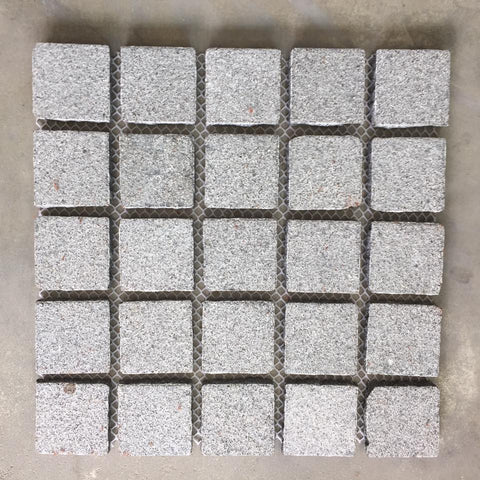Grey Flamed Granite Cobbles On Mesh 500x500x20mm, Paving- eStone Direct