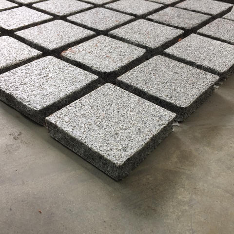 Amber Flamed Granite Cobbles On Mesh 500x500x20mm, Paving- eStone Direct