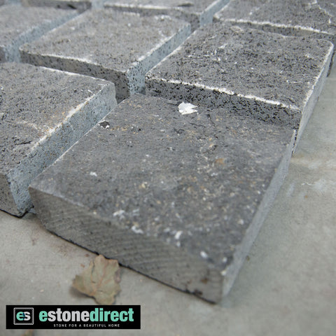 Bluestone Cobbles On Mesh 400x400x30mm, Paving- eStone Direct