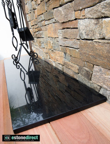 Granite Hearth - Black Polished 1500x400x20mm, Hearth- eStone Direct