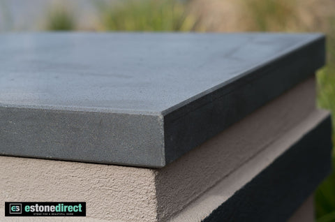 Solid Bluestone Pier Cap - Honed 630x630x45mm, Hearth- eStone Direct