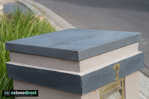 Solid Bluestone Pier Cap - Honed 630x630x40mm, Hearth- eStone Direct