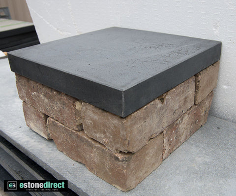 Solid Bluestone Pier Cap - Honed 350x350x45mm, Hearth- eStone Direct