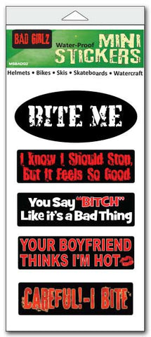 "Set of 5 'Bad Girlz' mini stickers - 1"" x 3"" each"