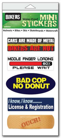 "Set of 5 'Biker'' mini stickers - 1"" x 3"" each"