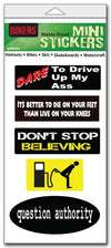 "'Biker'' mini stickers - Set of 5 -Size: 1"" x 3"" each"