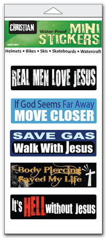 "Set of 5 'Christian'' mini stickers - 1"" x 3"" each"