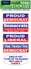 "Set of 5 'Democrat' mini stickers - 1"" x 3"" each"