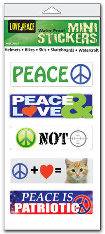 "'Love & peace' mini stickers - Set of 5 - Size 1"" x 3"" each"