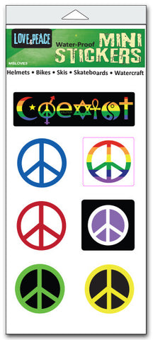 "'Love & peace' mini stickers - set of 7 - Size 1"" x 3"" and 1"" x 1"""