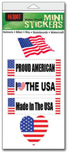"'Patriotic' mini stickers - Set of 5 - Size 1"" x 3"" each"