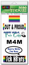 "'Pride' mini stickers - Set of 6 - Size 1"" x 3"" each"