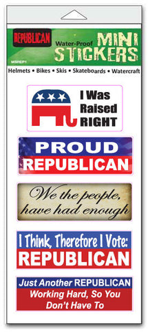 "'Republican' mini stickers - Set of 5  - Size 1"" x 3"" each"