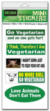"'Vegetarian' mini stickers - Set of 5 ' - Size 1"" x 3"" each"