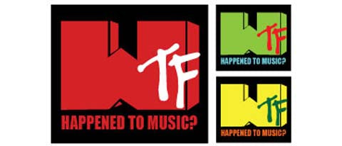 "WTF Happened to music? (Set of 3 stickers) 1 - 3.5"" x 4"" , + 2 - 1.75"" x 1.9"""" stickers"