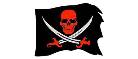 "Jolly Roger - Red  (Skull & Crossbones) - 4.25"" x 4.25"""