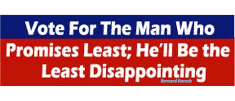 "Vote for the man who promises least; he'll be the least disappointing - Bernard Baruch - 3"" x 10"""