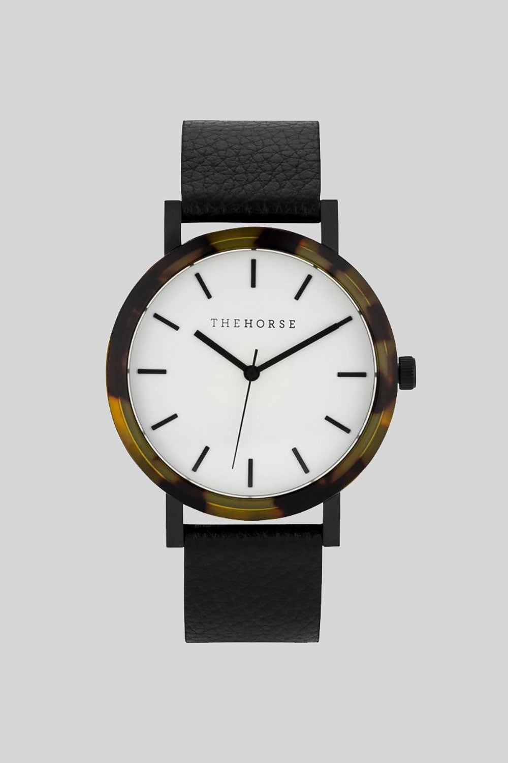 BROWN TORTOISE SHELL - WHITE DIAL - BLACK LEATHER