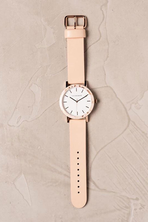 PEACH SPECKLE CASE - WHITE DIAL - ROSE GOLD INDEXING - VEGETABLE TAN LEATHER