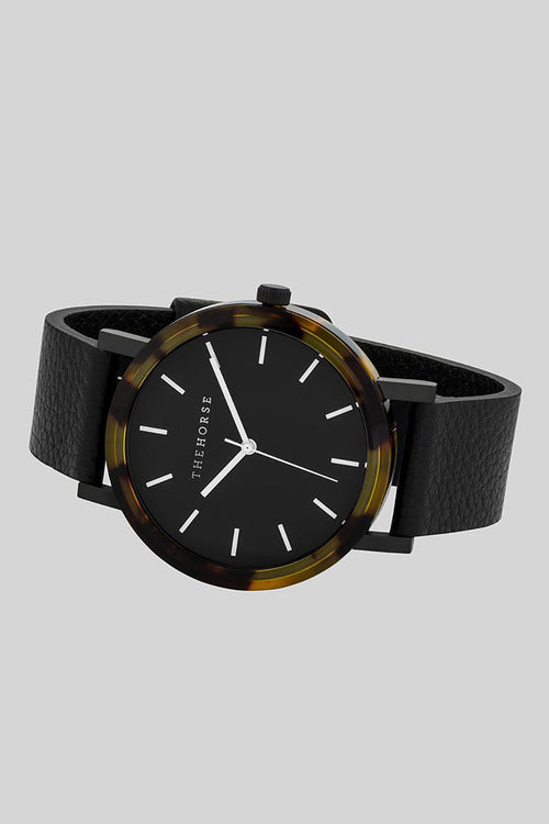 BROWN TORTOISE SHELL - BLACK DIAL - BLACK LEATHER